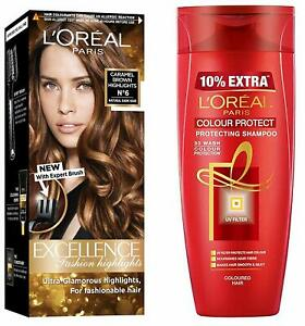 L'Oreal Paris Highlights Hair Color, Caramel Brown, 102g Protect Shampoo 360ml