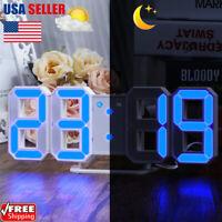 NEW LED Digital 3D Tabel Wall Clock Alarm Clock Snooz Timer Night Light For Home