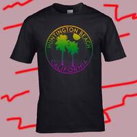 Huntington Beach California Logo Men's Black T-Shirt Size S-3XL
