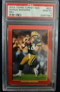 2005 Topps Turkey RED Football Aaron Rodgers Rookie Card #221 PSA 10 Gem Mint RC