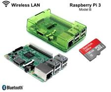 Raspberry Pi 3 1 GB Ram Quad Core con 16 GB NOOBS schede MicroSD e GREEN CASE