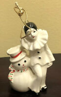 """Vintage Ceramic Snowman And Jester Christmas Ornament 4"""""""