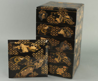 Antique Japanese Lacquer Jubako Stacking Boxes Edo Era
