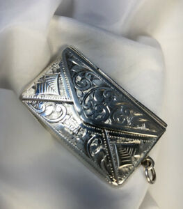 ANTIQUE RARE COLLECTABLE HM SILVER DOUBLE STAMP CASE 'ALBERT ERNEST JENKINS 1905