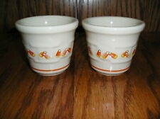 Longaberger Pottery Candy Corn Candle Holders 2 Votive Cups-Tea Lights
