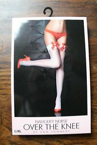 Ann Summers Naughty Nurse Over The Knee Size L-XL New & Tags Stockings Hold Ups