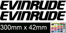 EVINRUDE pair vinyl cut sticker decals for outboard Engine Cowl 300mm X 42mm