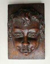 More details for decorative antique carved oak rococo cherub putti mask plaque 16cm x 10.5cm