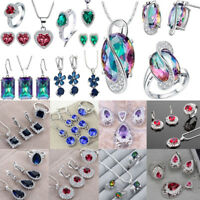 925 Silver Crystal Zircon Earring+Ring+Necklace Pendant Wedding Bridal Jewelry A