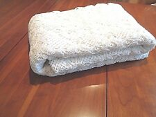 "Antique Hand Crochet bedspread 100"" x 100"" White"
