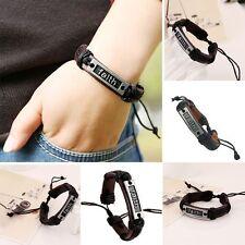 Alloy Braided Bangle Genuine Leather Wristband Faith Bracelet Rope Chain