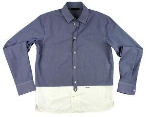 DSQUARED contrast panel slim fit shirt blue/wht