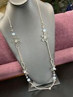 Signed NY Long Sweater Necklace Flower Faceted Crystal  Beaded SilverTone 36""
