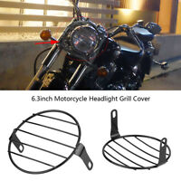Motorcycle Black Headlight Head Lamp Grill Side Mount Cover  for Cafe Racer