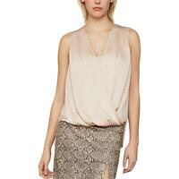 BCBG Max Azria Women's Satin High Low Faux Wrap Sleeveless Blouse