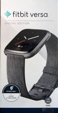 *Brand New Sealed* Fitbit Versa Smartwatch Charcoal Woven S+L Bands Included