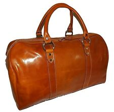 "NEW I MEDICI OF FLORENCE ITALIAN LEATHER 21"" CARRY-ON DUFFEL WITH STRAP COGNAC"