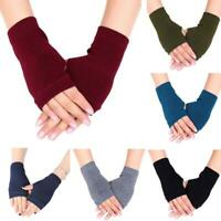 Unisex Cotton Knitted Fingerless Gloves Solid Color Stretchy Thumb Hole Mittens