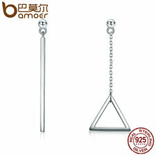 Bamoer Real 925 Sterling Silver Stud earrings triangle Dangle For Women Jewelry