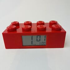 LEGO RED BRICK Alarm Clock by Clic Time w/ red back light ~ WORKS GREAT!!