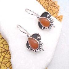 Karneol rotbraun Tropfen Design Ohrringe Ohrhänger Haken 925 Sterling Silber
