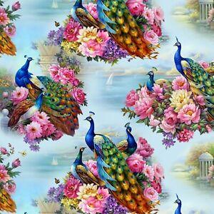 Animal Fabric - Exotica Peacock Floral Scene Blue - Elizabeth's Studio YARD