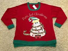 Size 1X Cat Themed Ugly Christmas Sweater Kitten Holiday XL Women's Plus NWT New
