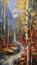"""Brent HEIGHTON Original Painting """" Falling Water """" Waterfall Acrylic on Canvas"""