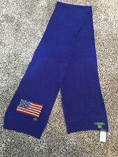 Women's RALPH LAUREN Blue American Flag Long Winter Scarf - $58 MSRP