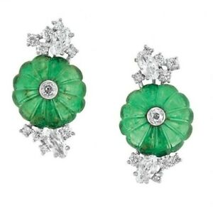 925 Sterling Silver Carved Emerald & Sparkly CZ Flower Design Clip Earrings