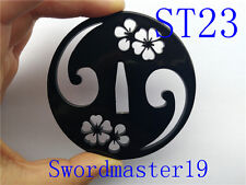 1 Top Grade Cherry Blossom Black Iron Tsuba - Japanese Katana Wakizashi Sword