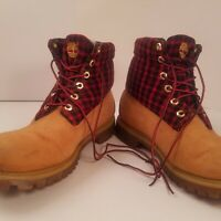 Men's Timberland Work Boots Size 11M Used 8 inch Leather Nubuck Plaid Wool Top