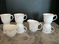 ROYAL ALBERT BONE CHINA HORIZONS VISTA ENGLAND PINK & GRAY 7 CUPS MUGS & CREAMER