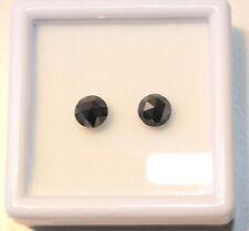 Edelsteine24 2x Schwarze Naturdiamanten Rosenschliff Paar 1,73ct  5,9mm! D-404