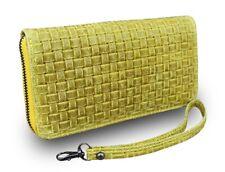 Made in Italy Damen Geldbörse Portemonnaie Geldbeutel Vintage geflochten Gelb