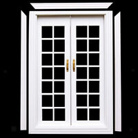 1/12 Doll House White Wood Exterior Double French Doors w/ Door Trim DIY SET