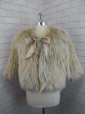 Ladies Short Vintage Style Blonde Shaggy Faux Fox Fur Bolero Jacket Coat BNWT L