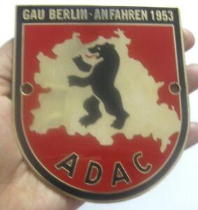 ADAC GAU BERLIN ANFAHREN 1953 CAR GRILL BADGE EMBLEM LOGOS METAL ENAMLED CAR BAD