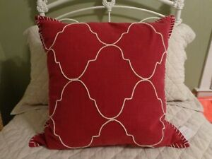 """NEW Pottery Barn Tile Embroidered Red Moroccan Pillow Sham Cover 22"""" Square NWT"""
