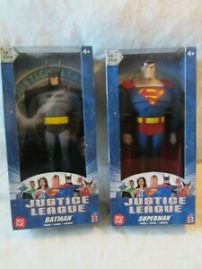 2003 MATTEL JUSTICE LEAGUE 10 INCH BATMAN & SUPERMAN LOT OF 2 ORIGINAL BOX