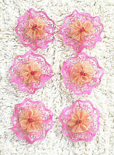 LACE ORGANZA FLOWERS--4.5 cm Round--- 6 FLOWERS PER PACK--BEADED CENTRE