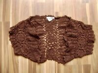 @ style snob @ Bolero Braun Size S Uk / Us 8 Gr. 36 Crochet Look Hippie like New