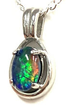 Australian Opal Natural Black Triplet Opal Pendant With 925 Solid Silver Set