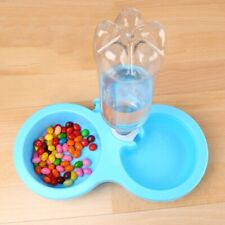 New listing Dual Bowl Pets Dogs Cats Feeder Feeding Food Water Dispenser Fixed on Cage S