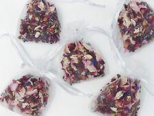 50 Real Pétale Mariage Confettis sacs biodégradables séché rose rouge organza Sacs