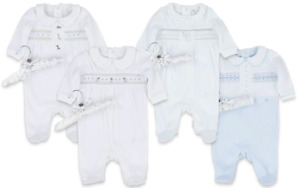 Baby Spanish Romany Smocked White Embroidered Animals Velour Babygrow Outfit