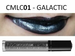 NYX Cosmic Metals Lip Cream CMLC01 GALACTIC Metallic SIlver Black Lipstick Stick