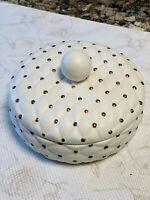 "Arnels Ceramic 7"" Quilted Round Lidded Dish Powder Jewelry Trinket Vintage"