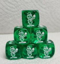 Dice - Chx Custom Leprechauns on 16mm Transparent Green w/White Elf #1 & Pips