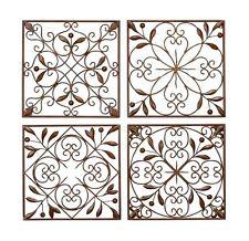 Metal Wall Decor Plaque Art Set of 4 Brown Home Outdoor Patio Kitchen Garden